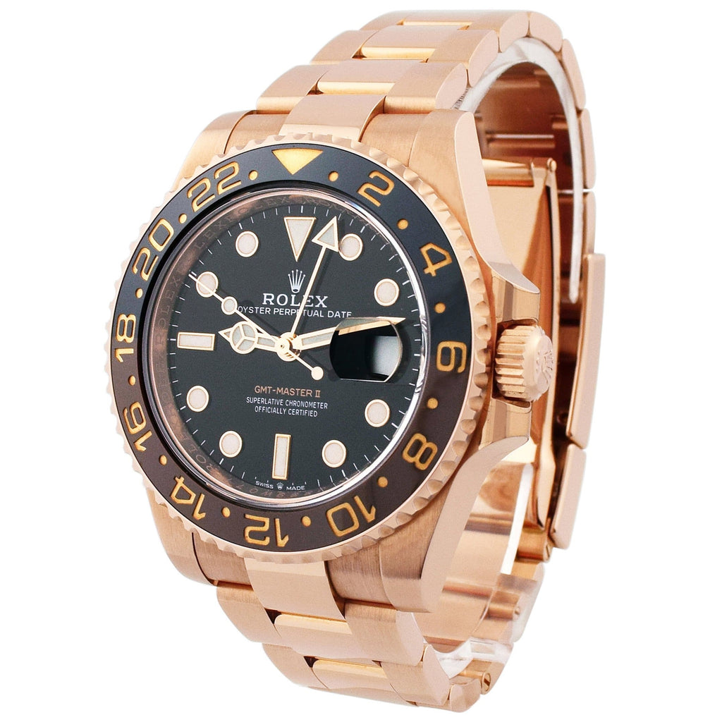 Rolex Mens GMT-Master II 18KT Rose Gold 40mm Black Luminous Dial Watch - Happy Jewelers Fine Jewelry Lifetime Warranty