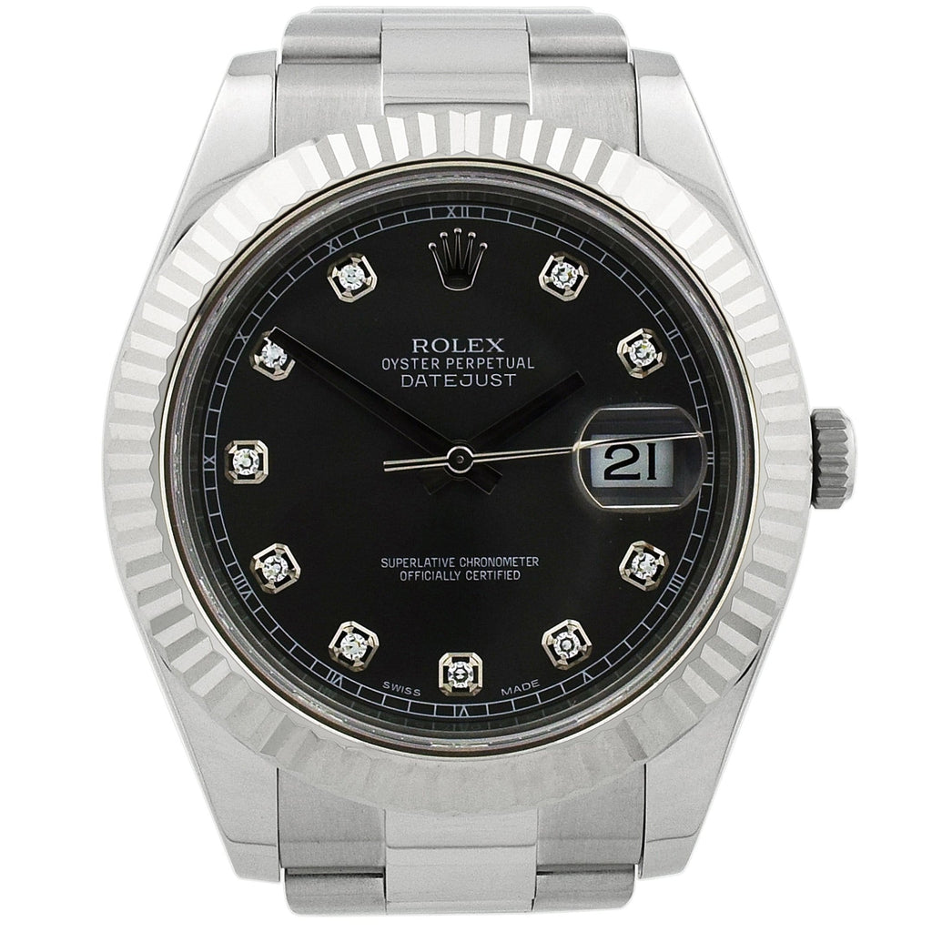 Rolex Mens Datejust II Stainless Steel 41mm Diamond Rhodium Dial Watch - Happy Jewelers Fine Jewelry Lifetime Warranty