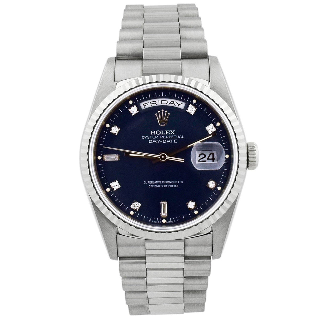 Rolex Unisex Day-Date 18KT White Gold 36mm Blue Diamond Dial Watch - Happy Jewelers Fine Jewelry Lifetime Warranty