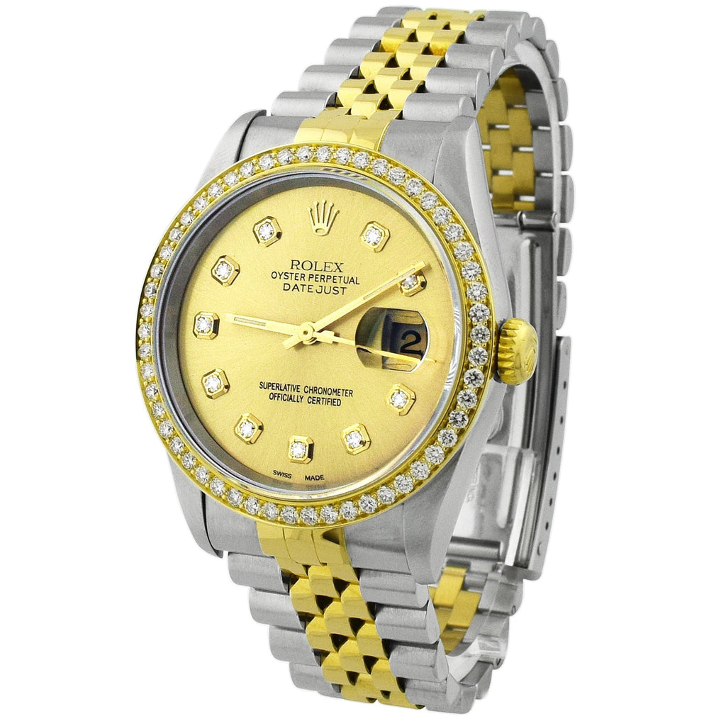 Rolex Unisex Datejust 18KT Yellow Gold & Steel 36mm Champagne Diamond Dial Watch - Happy Jewelers Fine Jewelry Lifetime Warranty