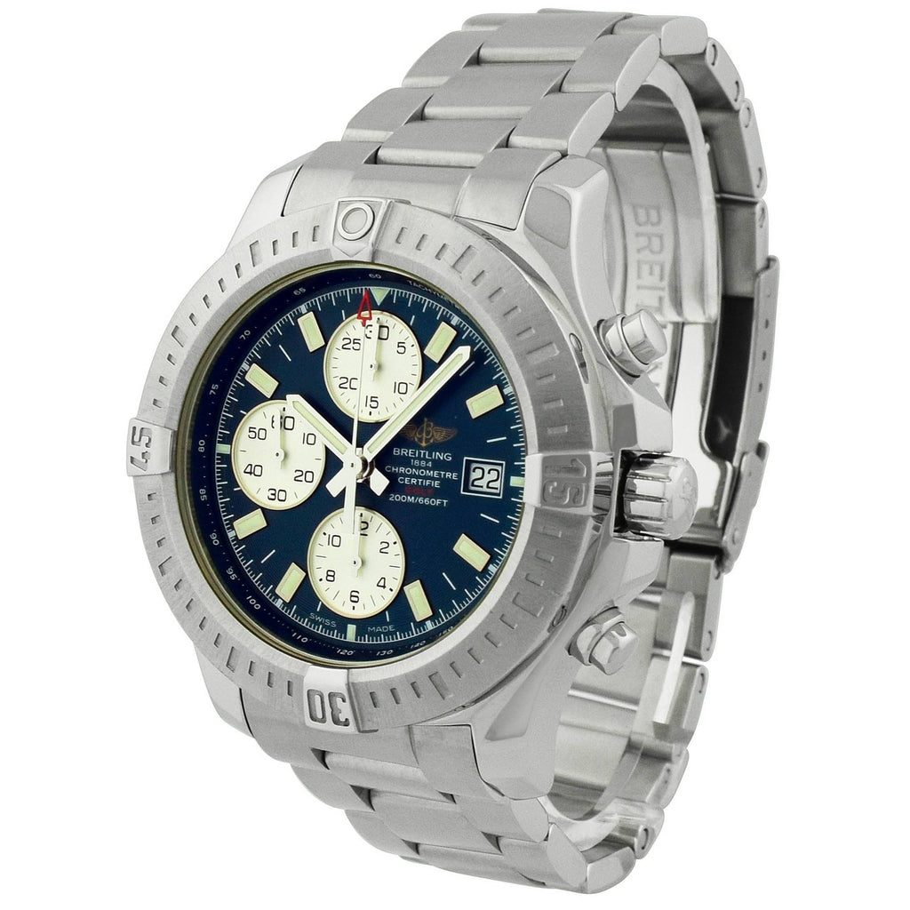 Breitling Mens Colt Stainless Steel 44mm Blue Dial Watch - Happy Jewelers Fine Jewelry Lifetime Warranty