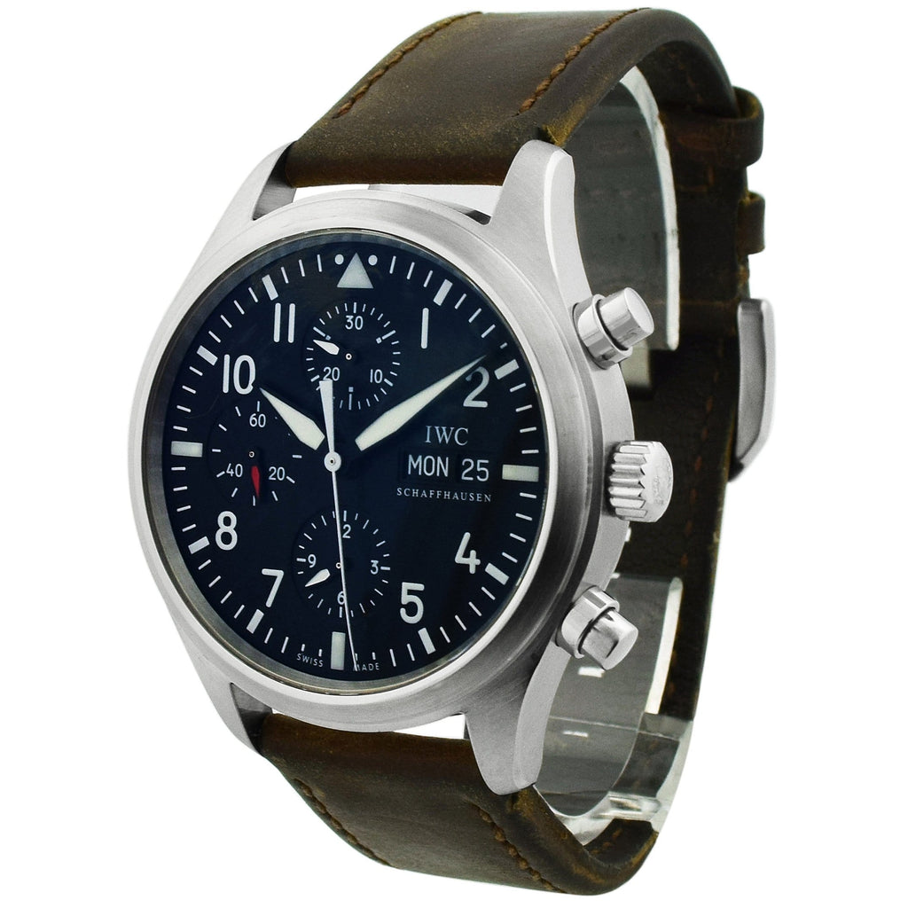 IWC Mens Pilot Spitfire Stainless Steel 43mm Black Arabic Dial Watch - Happy Jewelers Fine Jewelry Lifetime Warranty