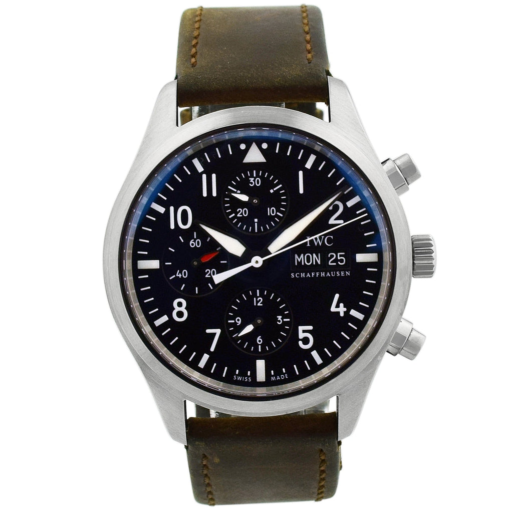 IWC Mens Pilot Spitfire Stainless Steel 43mm Black Arabic Dial Watch Reference #: 3717 - Happy Jewelers Fine Jewelry Lifetime Warranty