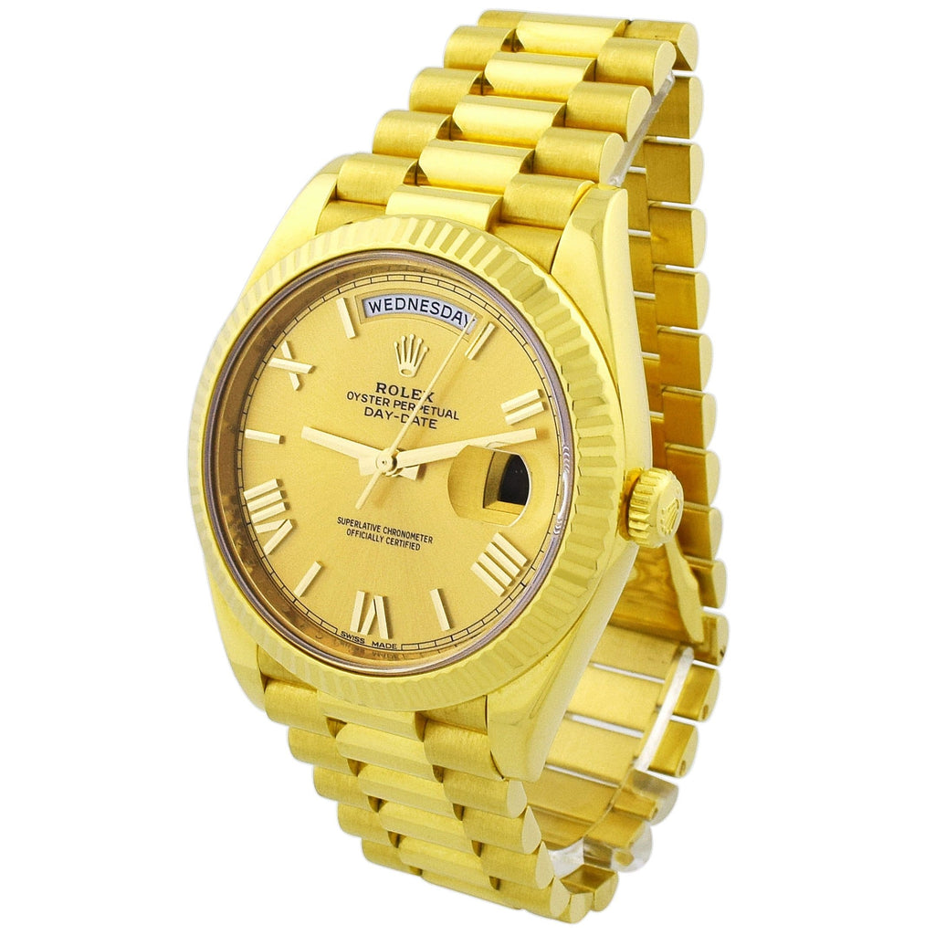 Rolex Mens Day-Date 18KT Yellow Gold 40mm Champagne Roman Dial Watch - Happy Jewelers Fine Jewelry Lifetime Warranty