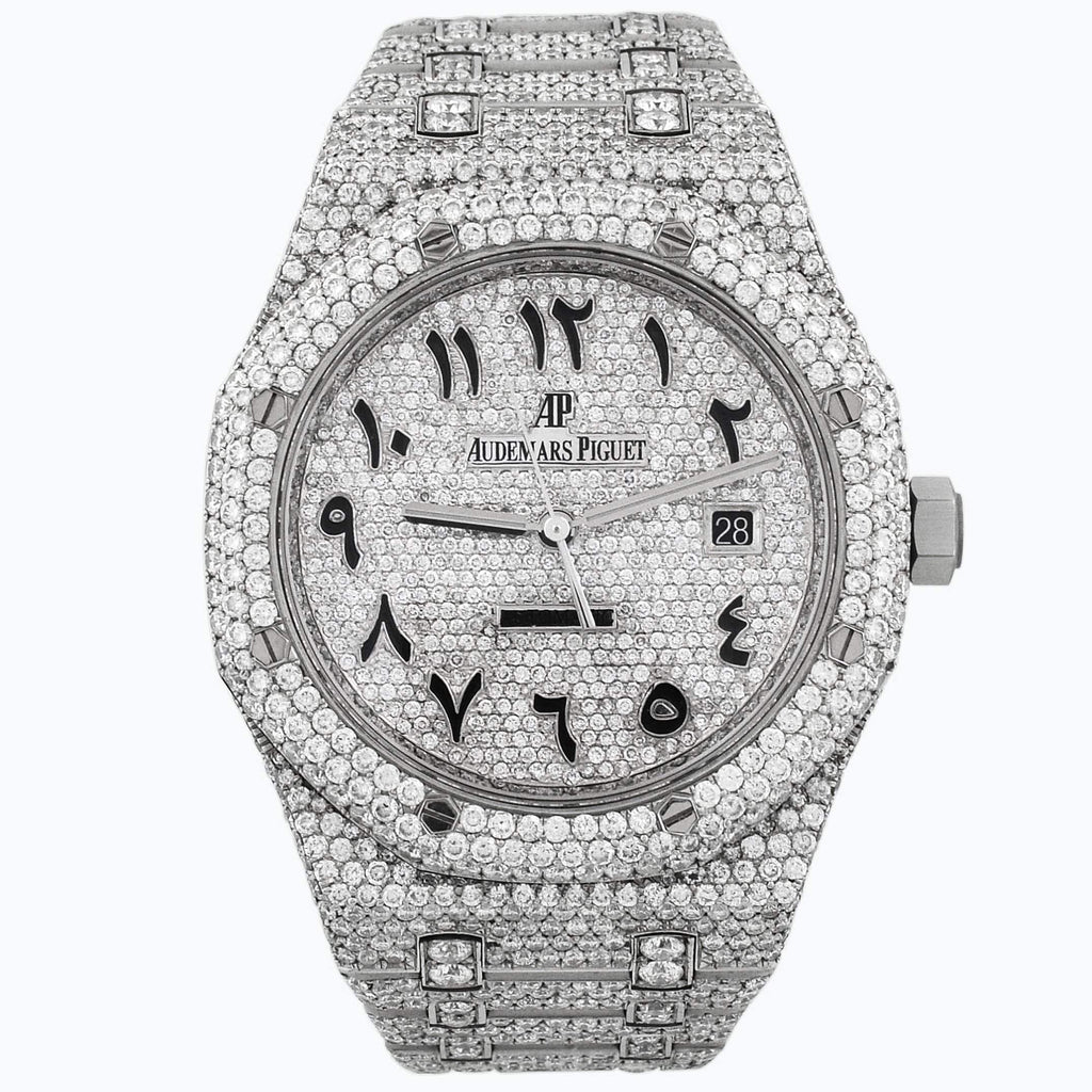 Audemars Piguet Mens Royal Oak Stainless Steel 41mm Iced Arabic Dial Watch Custom Iced Diamonds - Happy Jewelers Fine Jewelry Lifetime Warranty