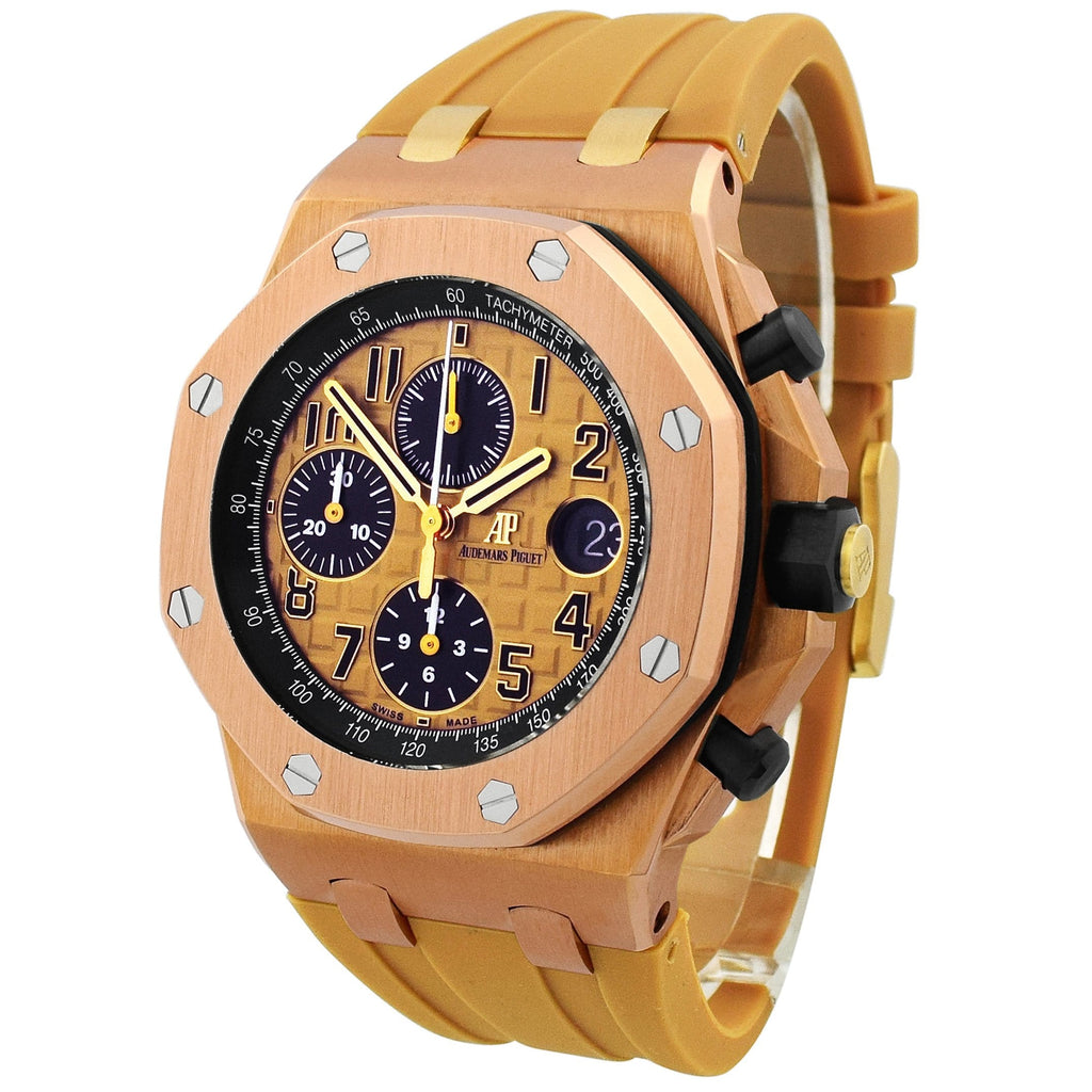 Audemars Piguet Mens Royal Oak Offshore 18KT Rose Gold 42mm Pink Arabic Tapisserie Dial Watch - Happy Jewelers Fine Jewelry Lifetime Warranty