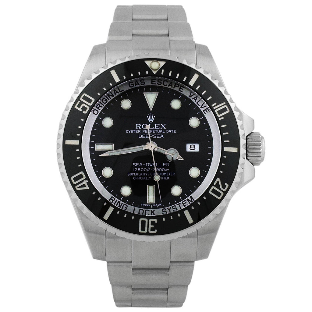 Rolex Mens Deepsea Sea-Dweller Stainless Steel 44mm Black Luminous Dial Watch - Happy Jewelers Fine Jewelry Lifetime Warranty