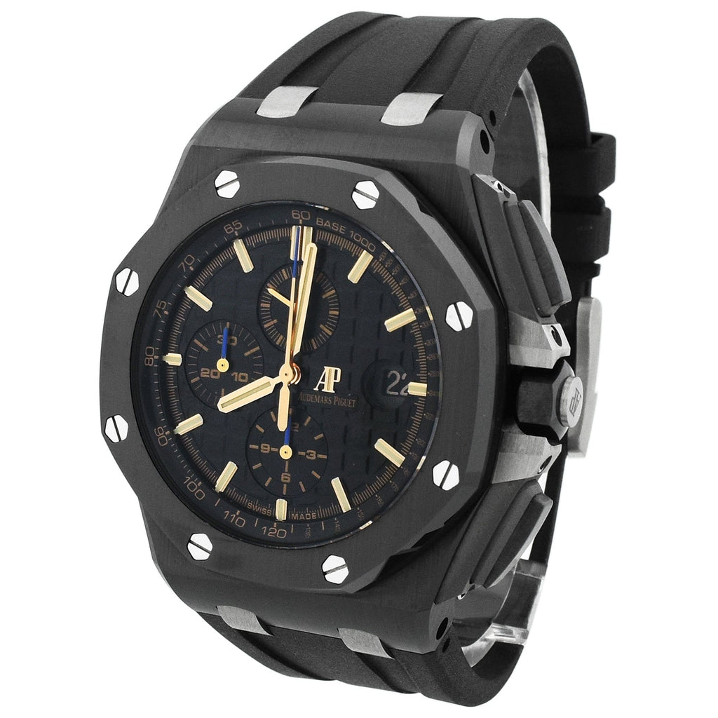 Audemars Piguet Mens Royal Oak Offshore Ceramic 44m Black Mega Tapisserie Dial Watch - Happy Jewelers Fine Jewelry Lifetime Warranty