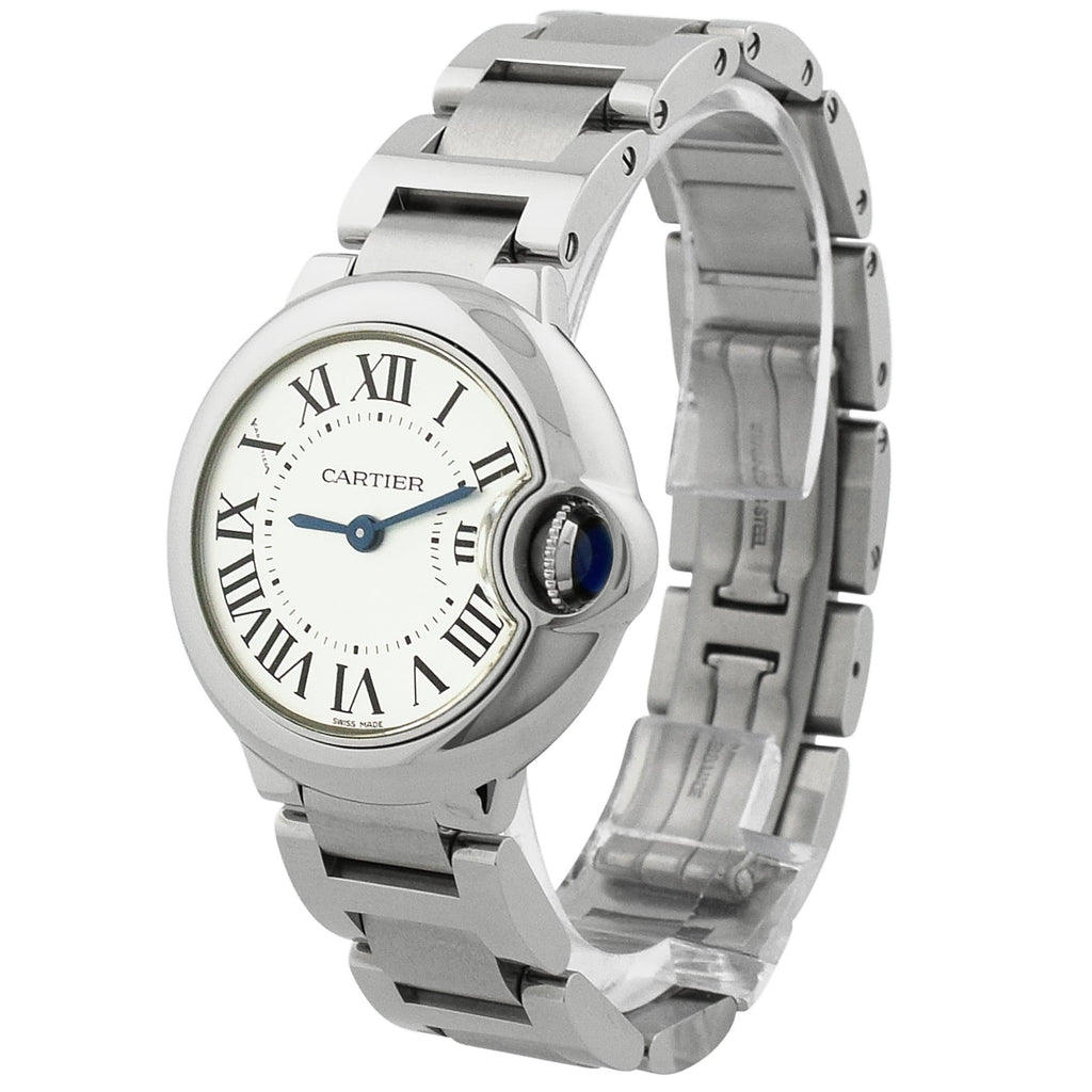 Cartier Lady Ballon Bleu Stainless Steel 28.6mm Silver Roman Dial Watch - Happy Jewelers Fine Jewelry Lifetime Warranty