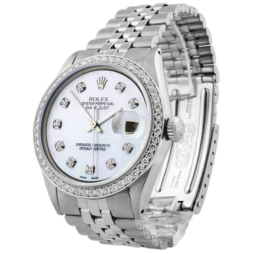 Rolex Unisex Datejust Stainless Steel 36mm MOP Diamond Dial Watch Reference #: 1601 - Happy Jewelers Fine Jewelry Lifetime Warranty