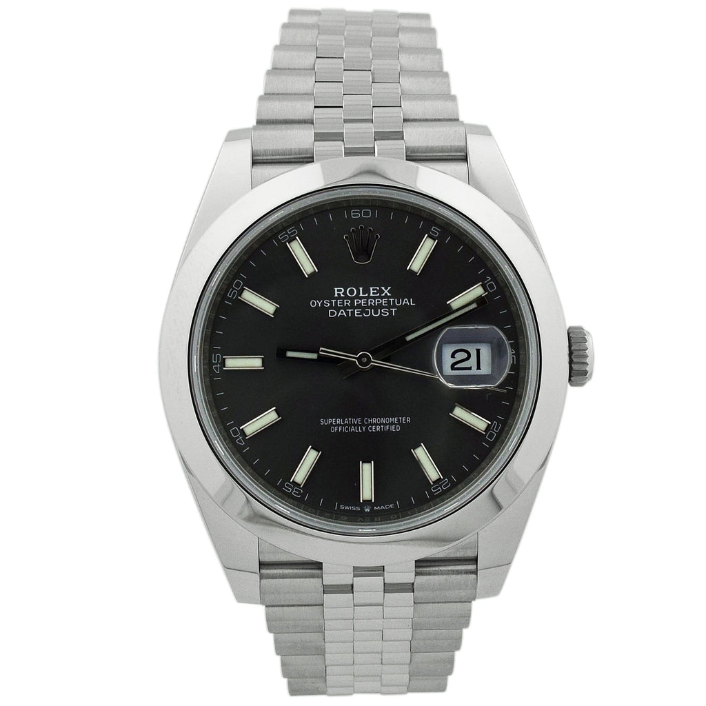 Rolex Mens Datejust Stainless Steel 41mm Rhodium Stick Dial Watch Reference #: 126300 - Happy Jewelers Fine Jewelry Lifetime Warranty