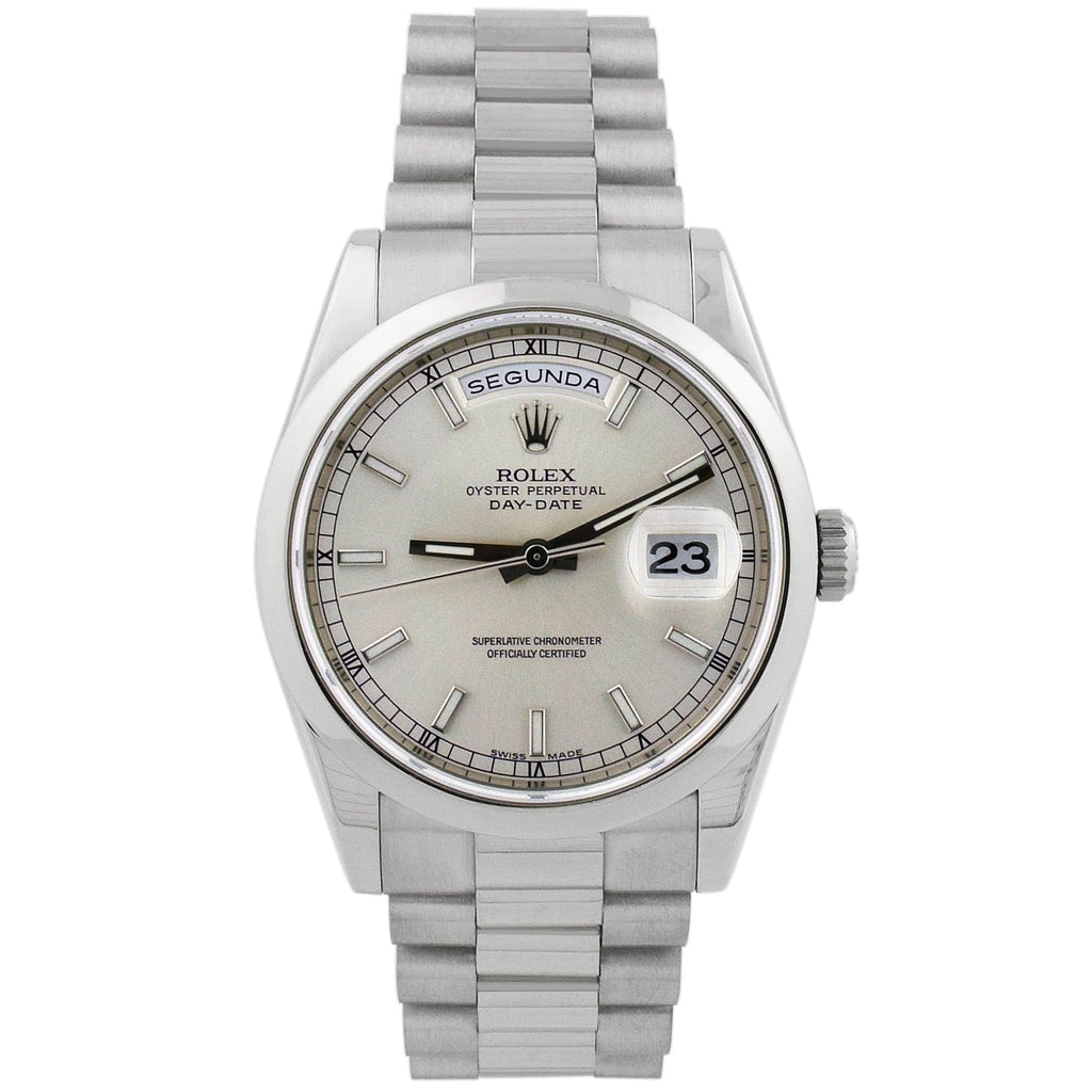Rolex Unisex Day-Date 18K White Gold 36mm Silver Stick Dial Watch Reference #: 118209 - Happy Jewelers Fine Jewelry Lifetime Warranty