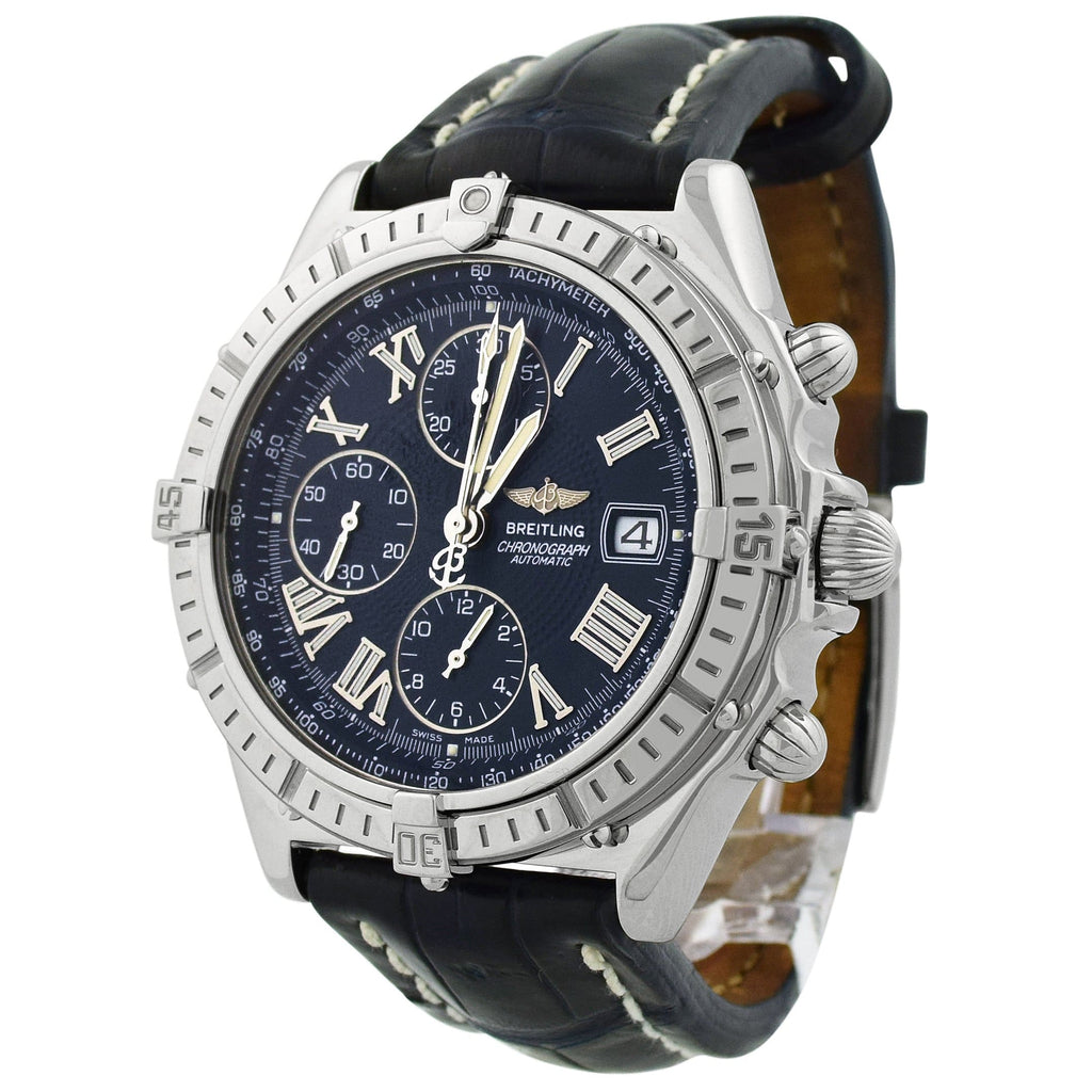 Breitling Mens Windrider Stainless Steel 44mm Blue Roman Dial Watch Reference #: A13055 - Happy Jewelers Fine Jewelry Lifetime Warranty