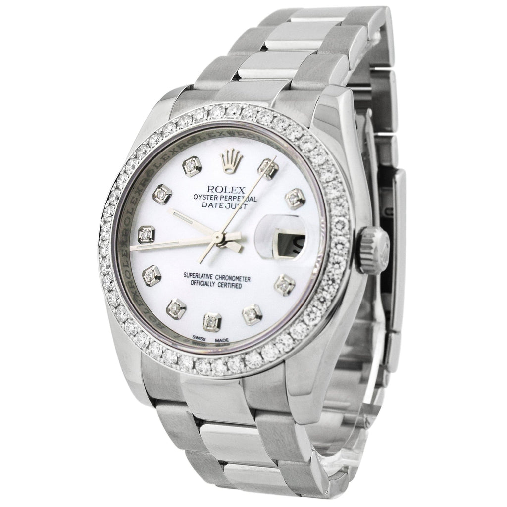 Rolex Mens Datejust Stainless Steel 36mm MOP Diamond Dial Watch Reference #: 116264 - Happy Jewelers Fine Jewelry Lifetime Warranty
