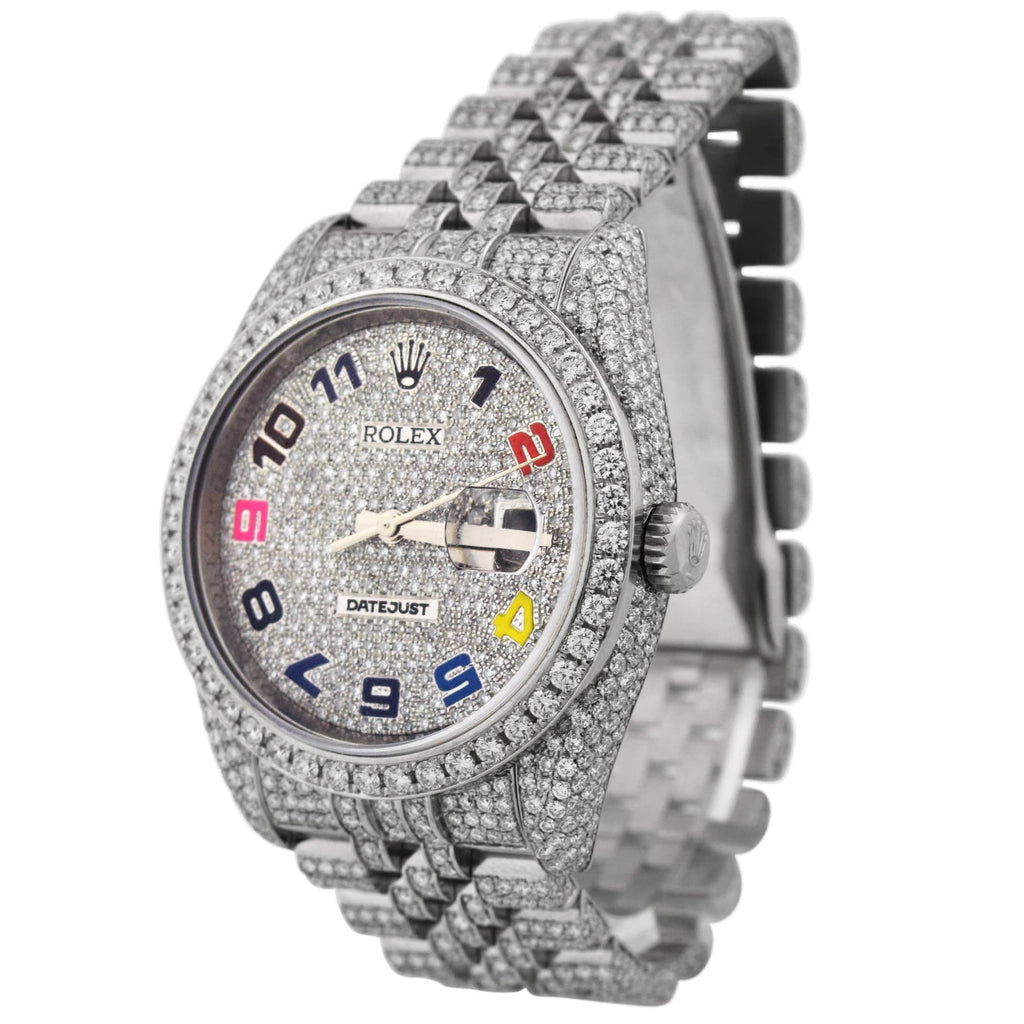 Rolex Mens Iced Out Datejust Stainless Steel 36mm Pave Diamond Rainbow Arabic Dial Watch Reference #: 116234 - Happy Jewelers Fine Jewelry Lifetime Warranty