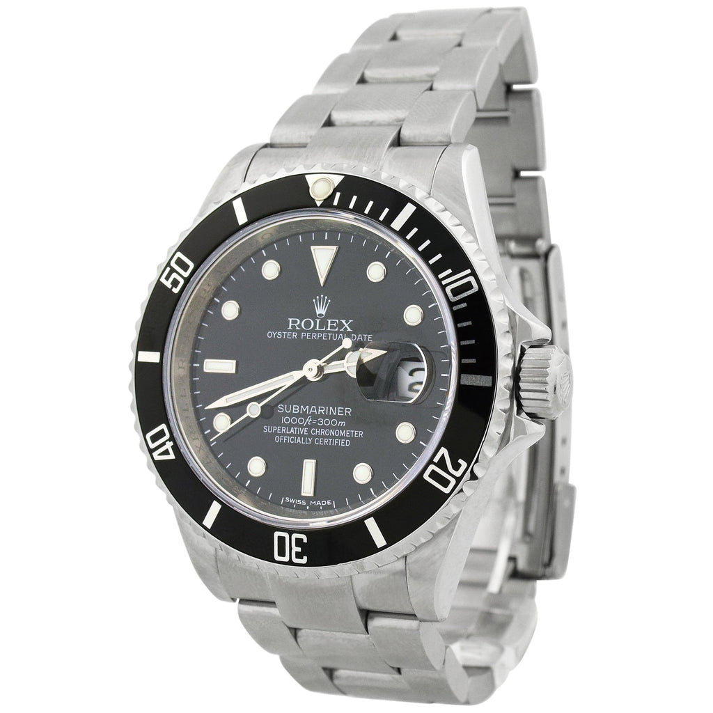 Rolex Mens Submariner Stainless Steel 41mm Black Dot Dial Watch Reference #: 16610T - Happy Jewelers Fine Jewelry Lifetime Warranty