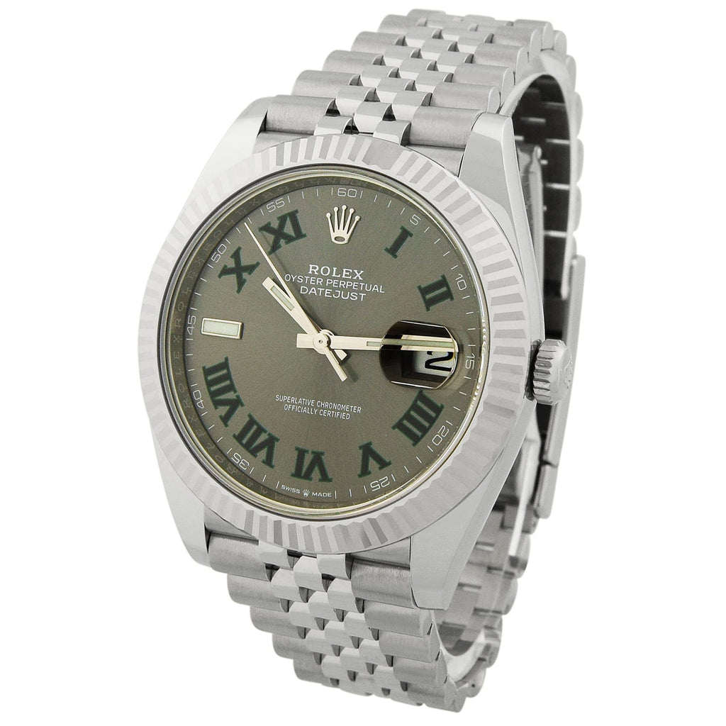 Rolex Mens Datejust Stainless Steel 41mm Slate Roman Dial Watch Reference #: 126334 - Happy Jewelers Fine Jewelry Lifetime Warranty
