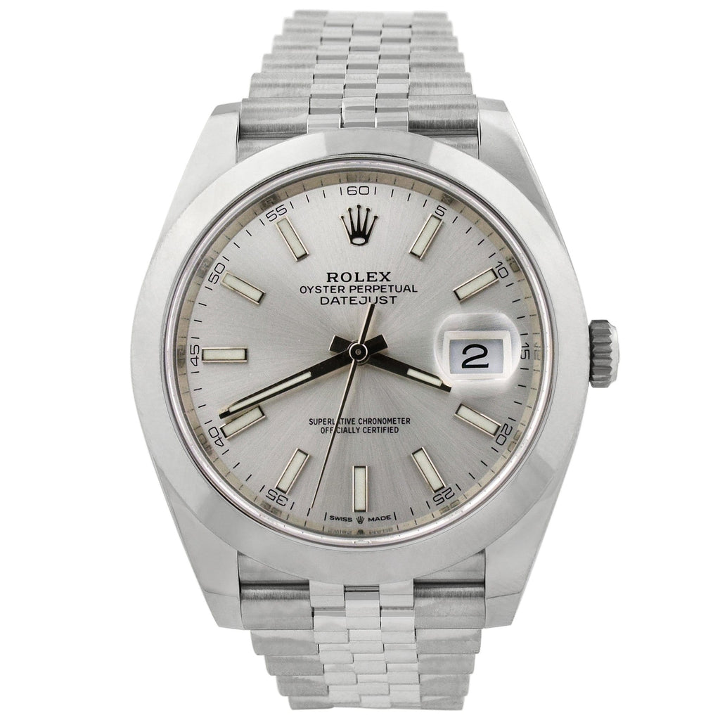 Rolex Mens Datejust Stainless Steel 41mm Silver Stick Dial Watch Reference #: 126300 - Happy Jewelers Fine Jewelry Lifetime Warranty