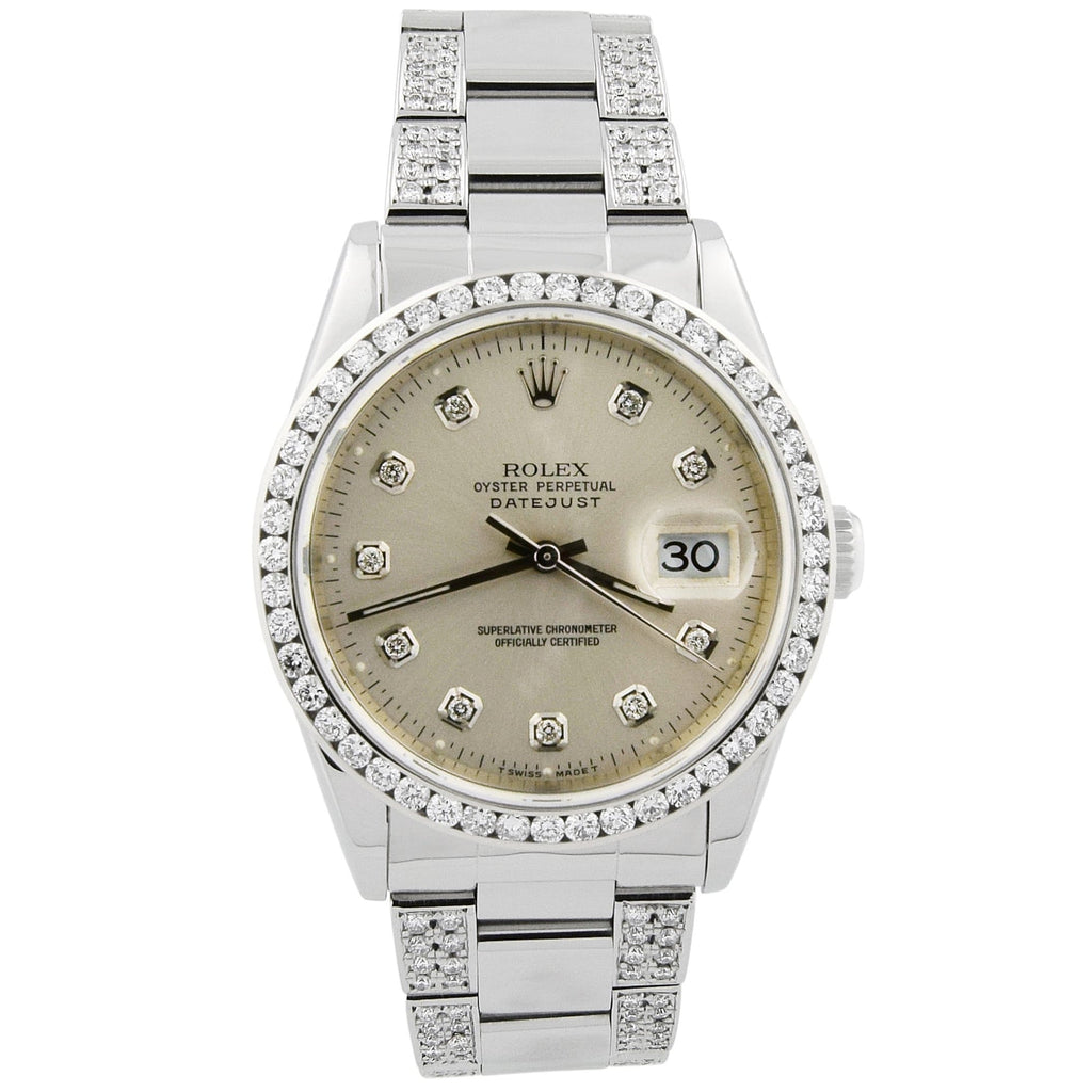 Rolex Mens Datejust Stainless Steel 36mm White Diamond Dial Watch Reference #: 16234 - Happy Jewelers Fine Jewelry Lifetime Warranty
