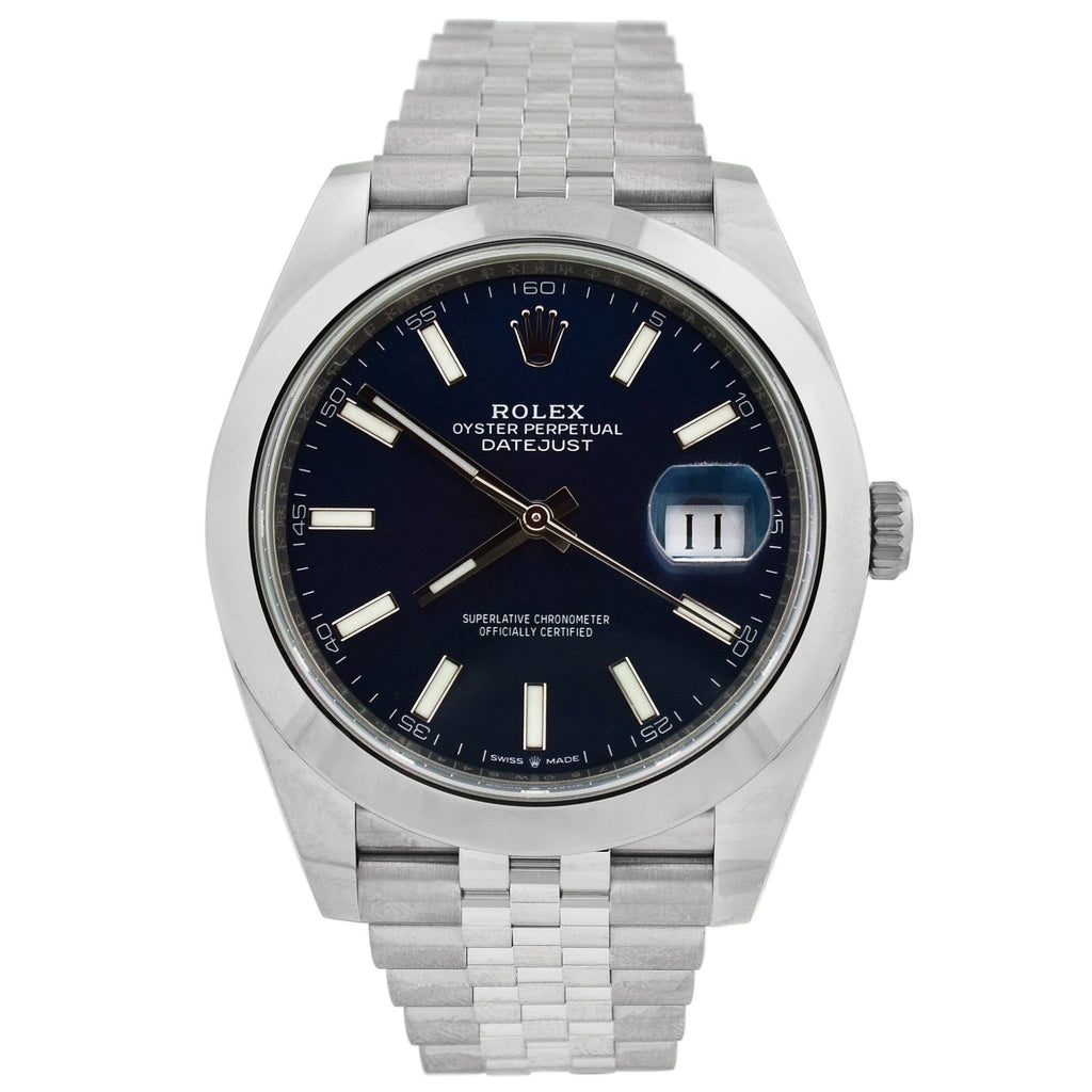 Rolex Mens Datejust Stainless Steel 41mm Blue Stick Dial Reference #: 126300 - Happy Jewelers Fine Jewelry Lifetime Warranty