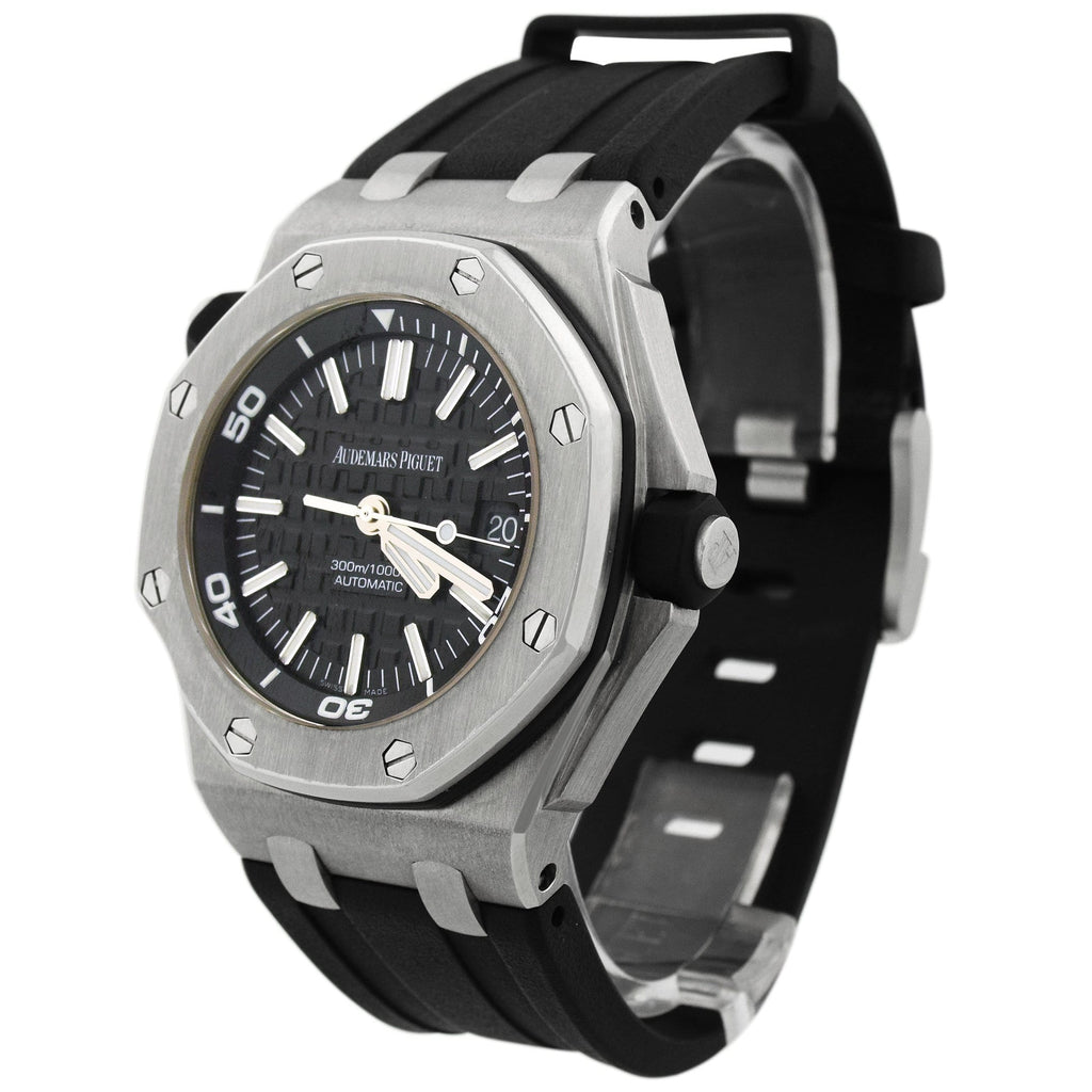 Audemars Piguet Mens Royal Oak Offshore Stainless Steel 41mm Black Méga Tapisserie pattern Stick Dial Watch Reference #: 15710ST.OO.A002CA.01 - Happy Jewelers Fine Jewelry Lifetime Warranty