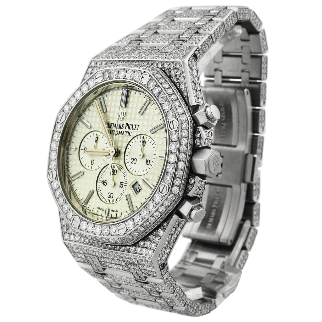 Audemars Piguet Mens Royal Oak Stainless Steel 41mm White Chronograph Stick Dial Iced out Watch Reference #: 26320ST.OO.1220ST.02 - Happy Jewelers Fine Jewelry Lifetime Warranty