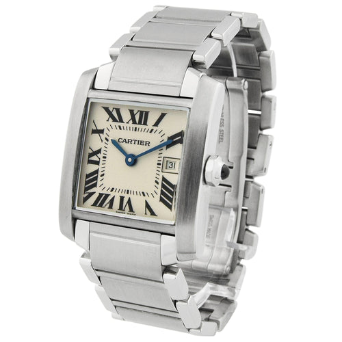 Cartier Unisex Tank Francaise Midsize Stainless Steel 25mm Ivory Roman Dial Watch Reference #: W51011Q3 - Happy Jewelers Fine Jewelry Lifetime Warranty