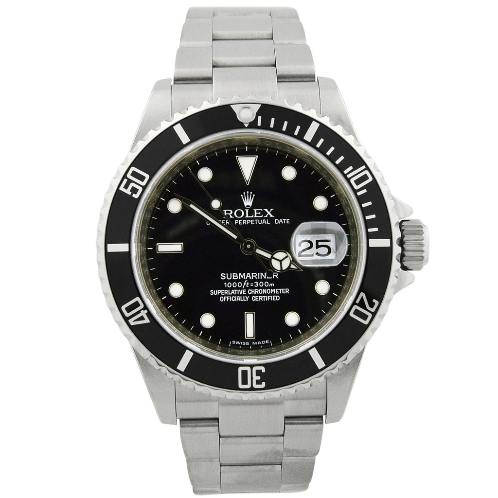 Rolex Mens Submariner Stainless Steel 40mm Black Dot Dial Black Ceramic Bezel Watch Reference #: 16610T - Happy Jewelers Fine Jewelry Lifetime Warranty