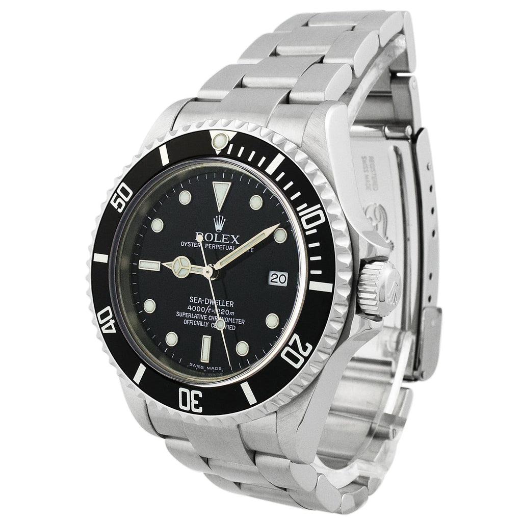 Rolex Mens Sea-Dweller Stainless Steel 40mm Black Dot Dial Black Ceramic Bezel Watch Reference #: 16600T - Happy Jewelers Fine Jewelry Lifetime Warranty