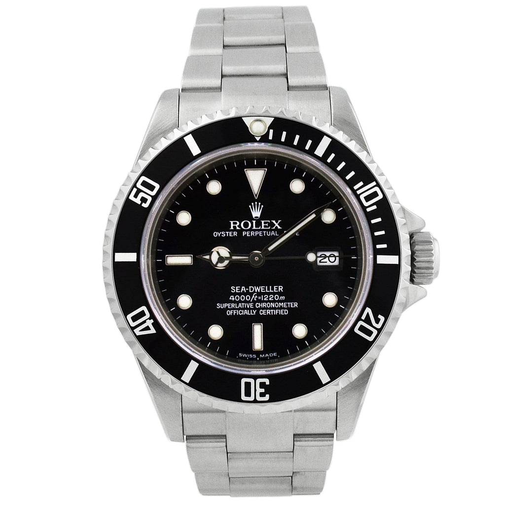Rolex Mens Sea-Dweller Stainless Steel 40mm Black Dot Dial Black Ceramic Bezel Watch Reference #: 16600T