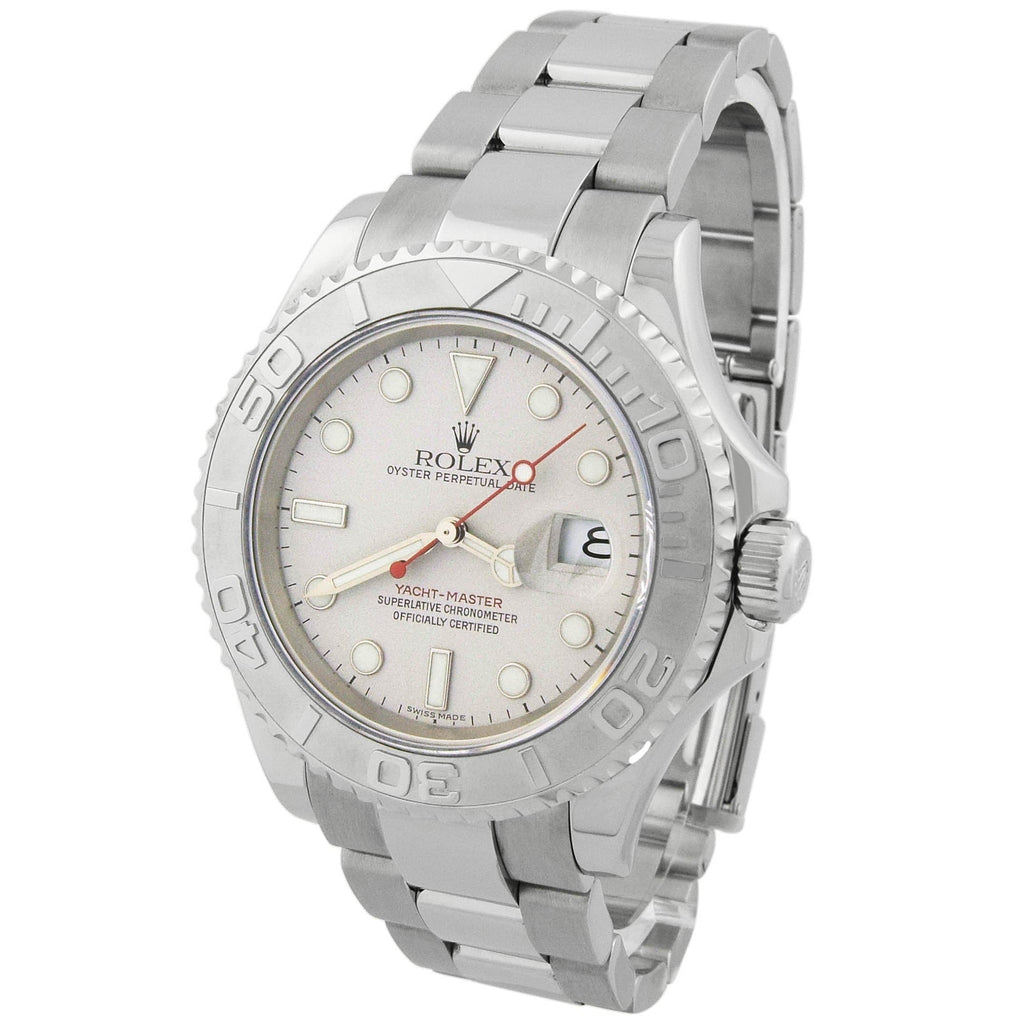 Rolex Mens Yacht-Master Stainless Steel 40mm Silver Dot Dial Platinum Bezel Watch Reference #: 16622 - Happy Jewelers Fine Jewelry Lifetime Warranty
