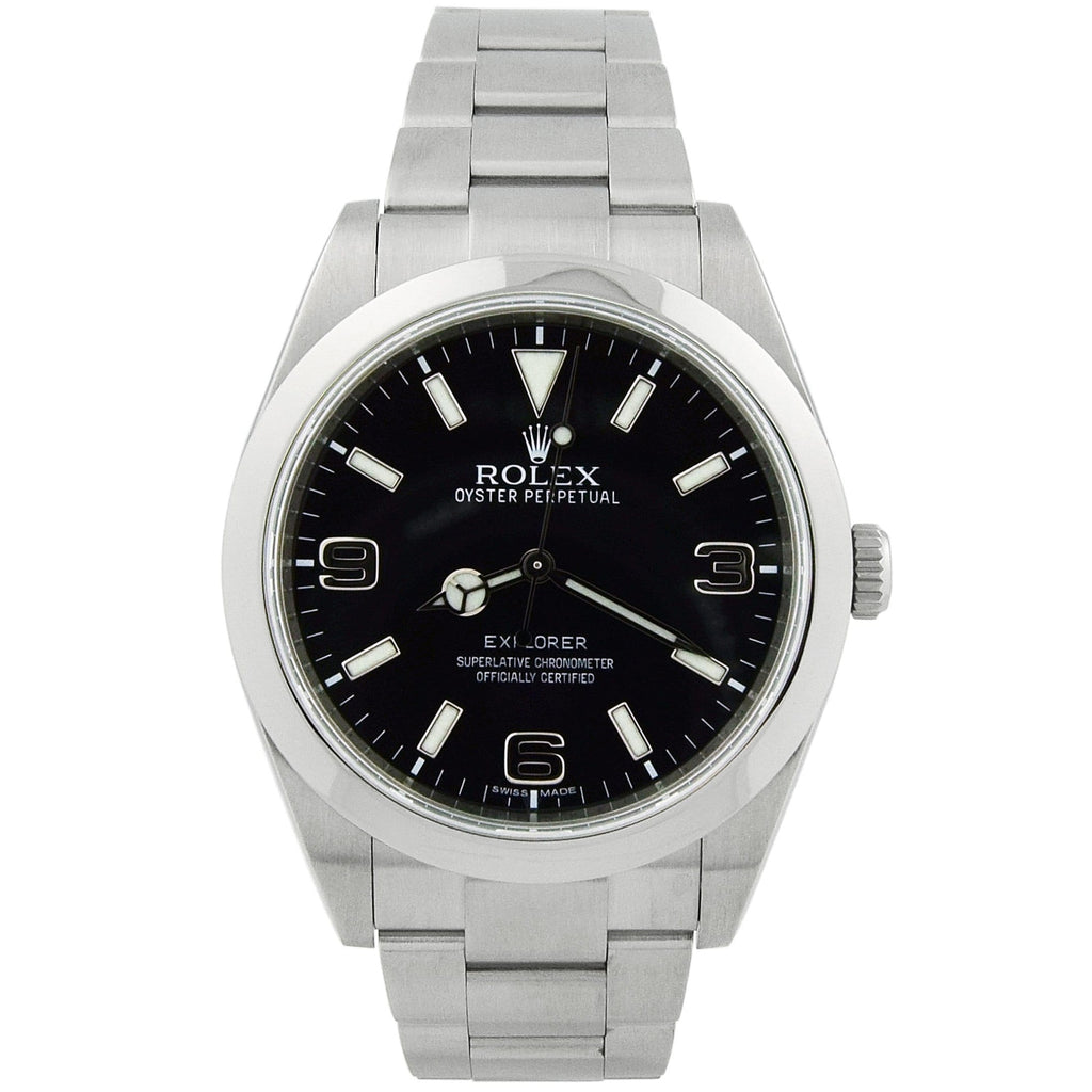 Rolex Mens Explorer Stainless Steel 39mm Black Stick & Arabic Dial Watch Reference #: 214270 - Happy Jewelers Fine Jewelry Lifetime Warranty