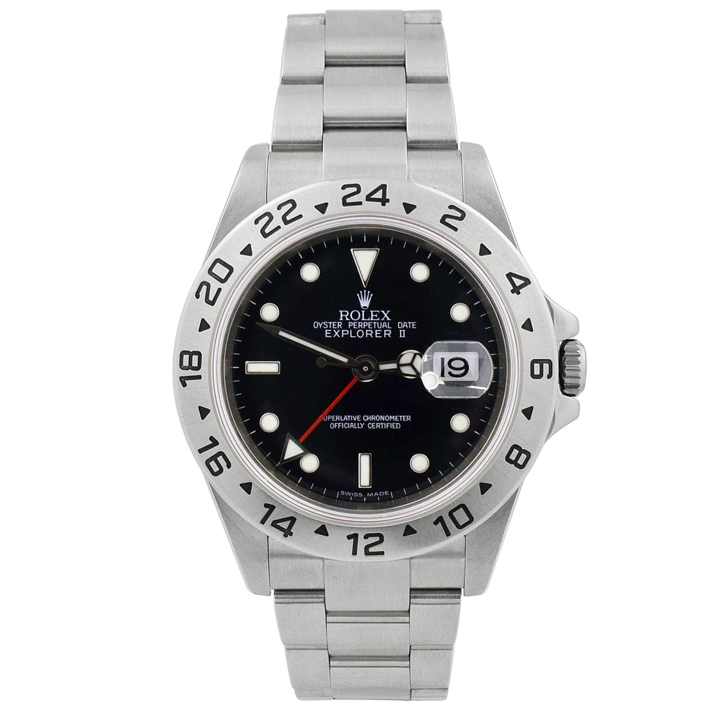 Rolex Mens Explorer II Stainless Steel 40mm Black Dot Dial Watch Reference #: 16570