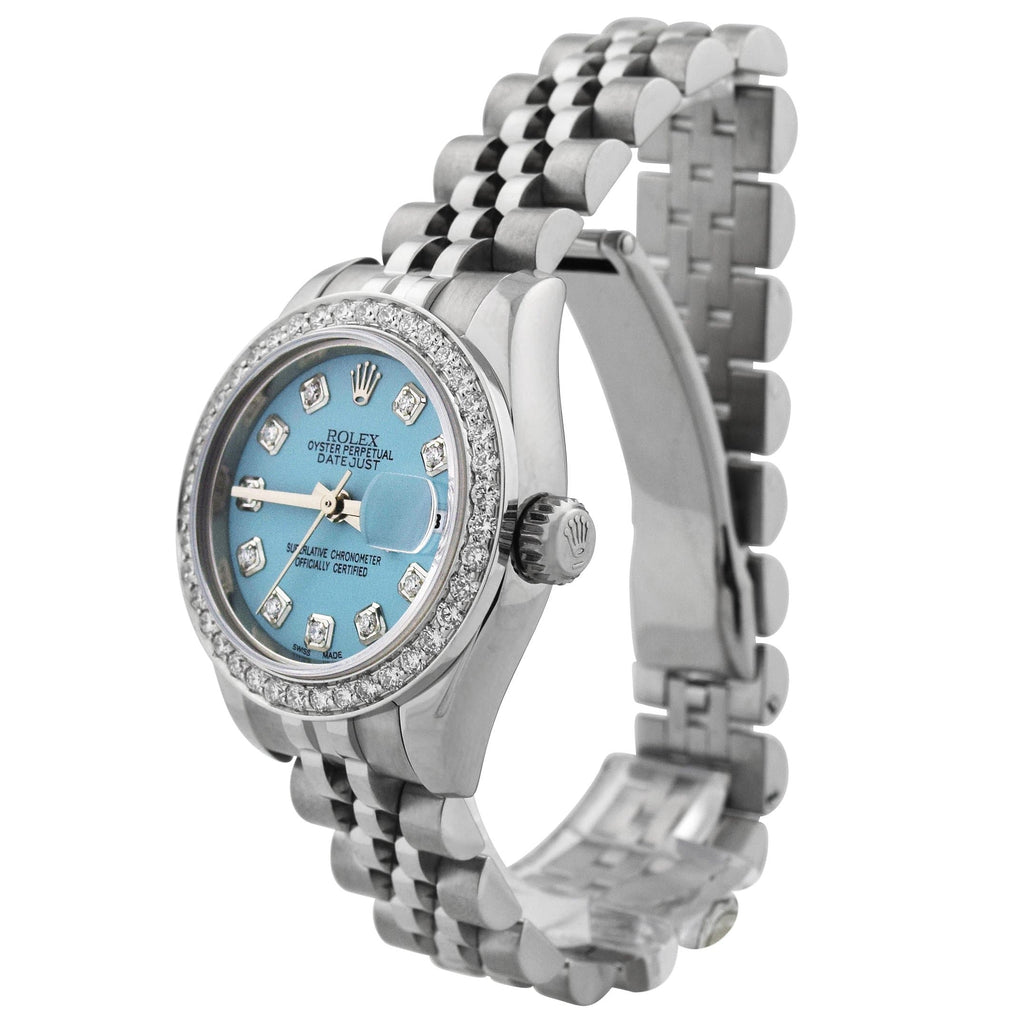 Rolex Lady Datejust Stainless Steel 26mm Baby Blue Diamond Dot Dial Watch Reference #: 179174