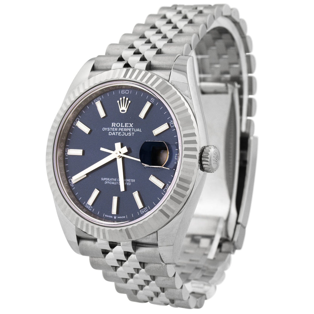 Rolex Mens Datejust Stainless Steel 41mm Blue Stick Dial Watch Reference #: 126334 - Happy Jewelers Fine Jewelry Lifetime Warranty
