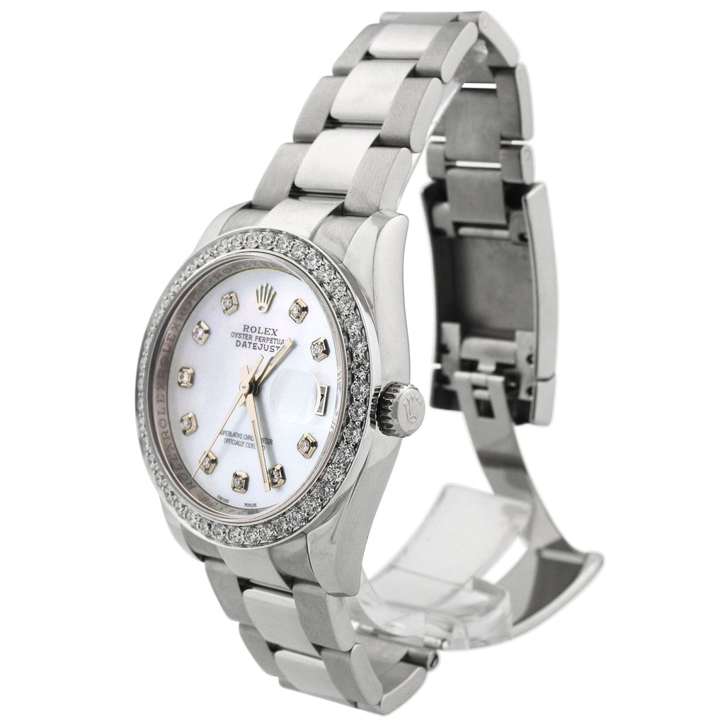 Rolex Unisex Datejust Stainless Steel 36mm MOP Diamond Dot Dial Watch Reference #: 116200 - Happy Jewelers Fine Jewelry Lifetime Warranty