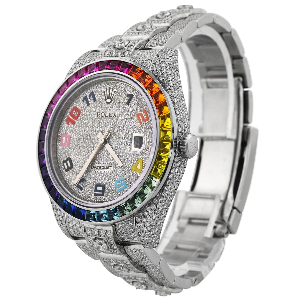 "Rolex Mens ""Iced Out"" Datejust Stainless Steel 41mm Pave Set Diamond Arabic Dial Rainbow Bezel Watch Reference #: 116300"