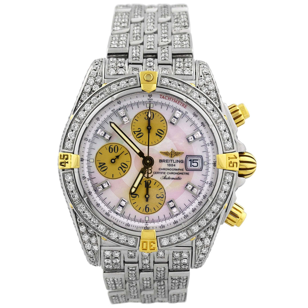 Breitling Mens Iced Out Chronomat Evolution Stainless Steel 44mm White Diamond Stick Dial Watch Reference #: B13356