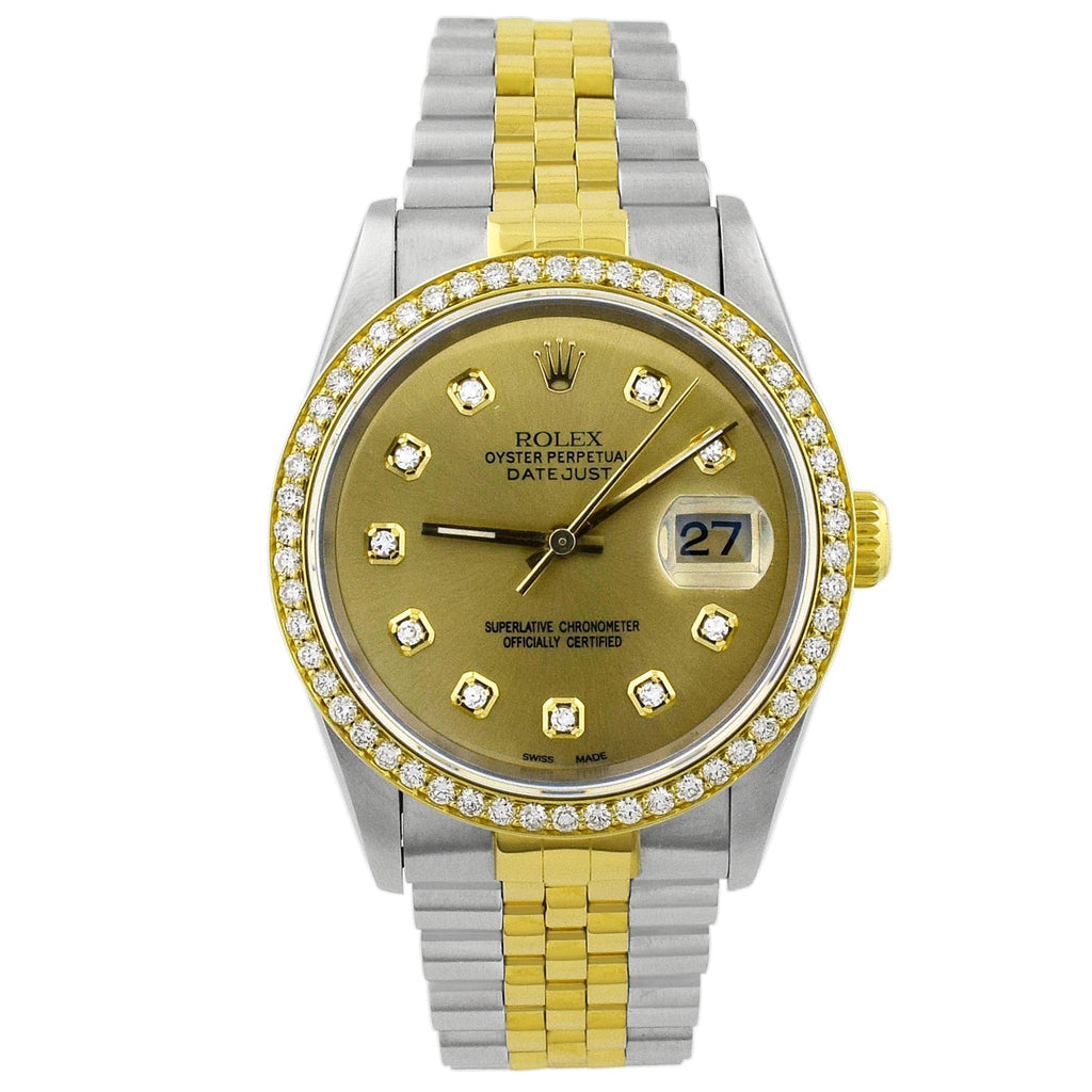 Rolex Unisex Datejust 18K Yellow Gold & Steel 36mm Champagne Diamond Dot Dial Watch Reference #: 16233 - Happy Jewelers Fine Jewelry Lifetime Warranty