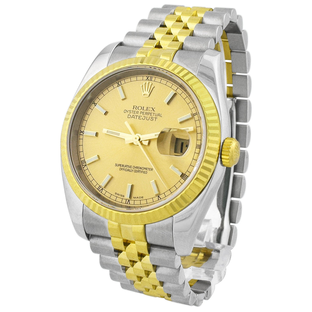 Rolex Mens Datejust 18K Yellow Gold & Steel 36mm Champagne Stick Dial Watch Reference #: 116233