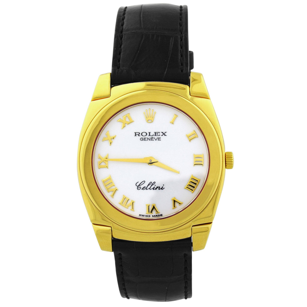 Rolex Mens Cellini 18K Yellow Gold 35mm White Roman Dial Watch Reference #: 5330 - Happy Jewelers Fine Jewelry Lifetime Warranty
