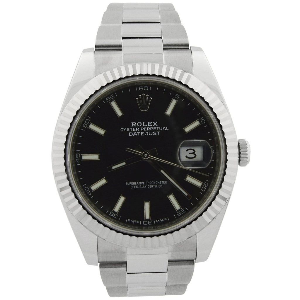 Rolex Mens Datejust Stainless Steel 41mm Black Stick Dial Watch Reference #: 126334 - Happy Jewelers Fine Jewelry Lifetime Warranty