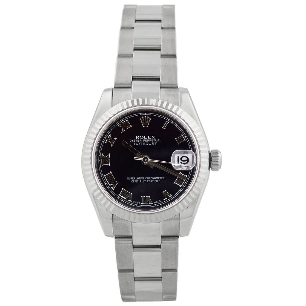 Rolex Lady Datejust Stainless Steel 31mm Black Roman Dial Watch Reference #: 178274 - Happy Jewelers Fine Jewelry Lifetime Warranty