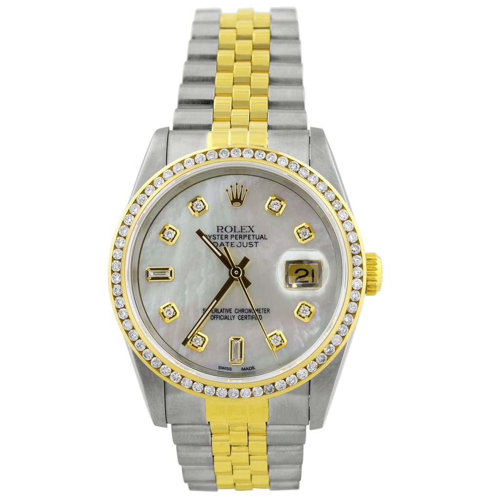 Rolex Ladys Datejust 18K Yellow Gold & Steel 36mm MOP Diamond Dot Dial Watch Reference #: 16233 - Happy Jewelers Fine Jewelry Lifetime Warranty