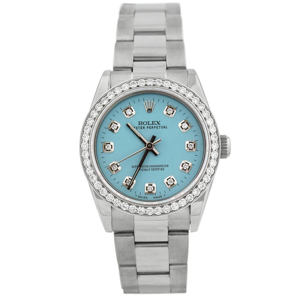 Rolex Ladys Oyster Perpetual Stainless Steel 31mm Baby Blue Diamond Dot Dial Watch Reference #: 77080 - Happy Jewelers Fine Jewelry Lifetime Warranty