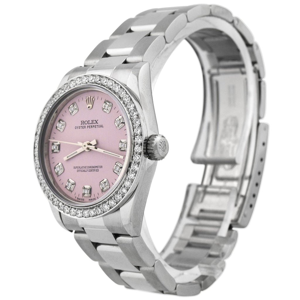 Rolex Ladys Oyster Perpetual Stainless Steel 31mm Pink Diamond Dot Dial Watch Reference #: 77080 - Happy Jewelers Fine Jewelry Lifetime Warranty