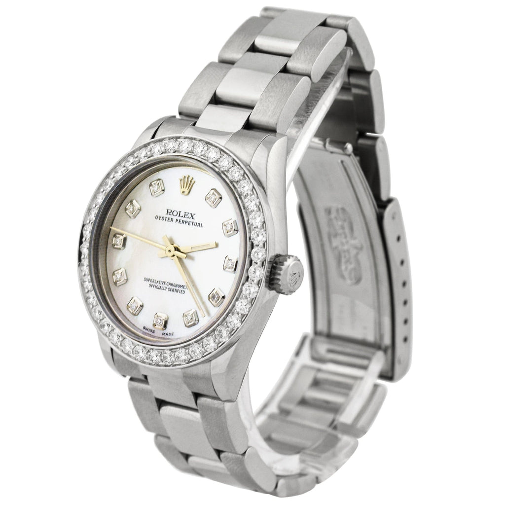 Rolex Ladys Oyster Perpetual Stainless Steel 31mm Purple Diamond Dot Dial Watch Reference #: 67480 - Happy Jewelers Fine Jewelry Lifetime Warranty