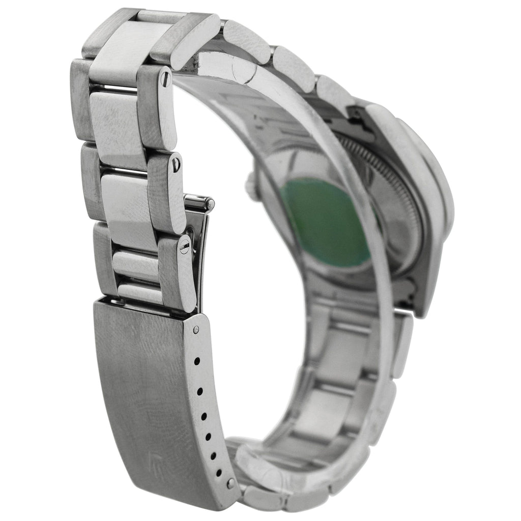 Rolex Ladys Oyster Perpetual Stainless Steel 31mm Green Diamond Dot Dial Watch Reference #: 67480 - Happy Jewelers Fine Jewelry Lifetime Warranty