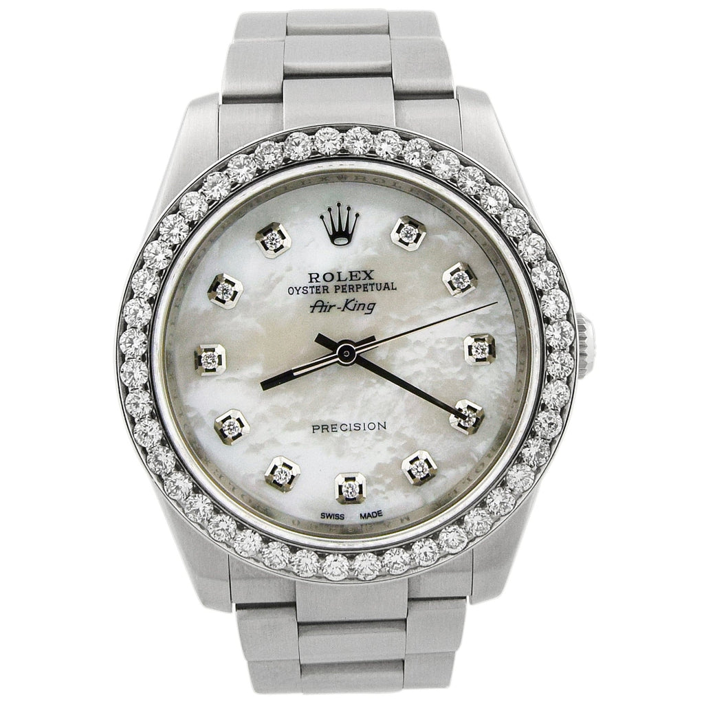 Rolex Unisex Air-King Stainless Steel 34mm Green Diamond Dot Dial Watch Reference #: 114200 - Happy Jewelers Fine Jewelry Lifetime Warranty