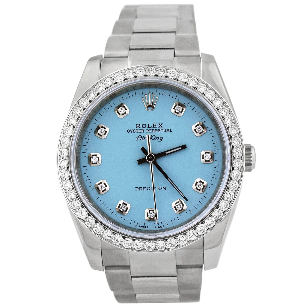 Rolex Unisex Air-King Stainless Steel 34mm Baby Blue Diamond Dot Dial Watch Reference #: 114200 - Happy Jewelers Fine Jewelry Lifetime Warranty